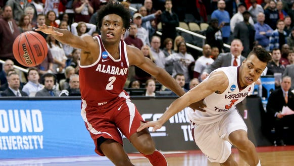 Alabama's Collin Sexton (2) chases down a long pass