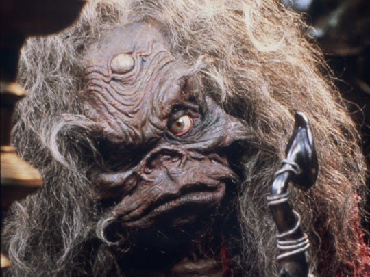 """Aughra, performed by Frank Oz and voiced by Billie Whitelaw, in a scene from """"The Dark Crystal."""""""