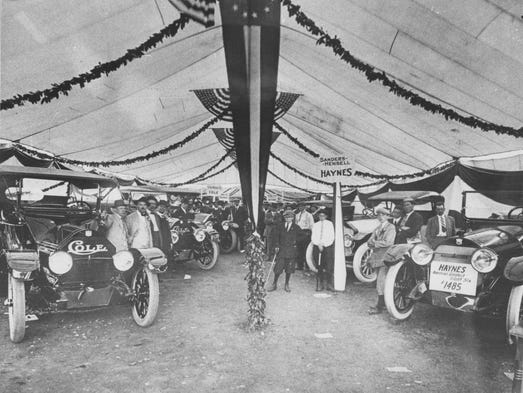 The first Indianapolis auto show was held downtown in 1912. Cole cars from the Cole Motor Company, Haynes from the Sanders-Hensell Haynes dealership and Chevrolets  were some of the brands on display.  Photo from Indianapolis Star Library.