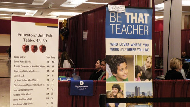 Banners at an education job fair held at New Mexico State University in April 2018, where representatives from school districts met with prospective teachers.