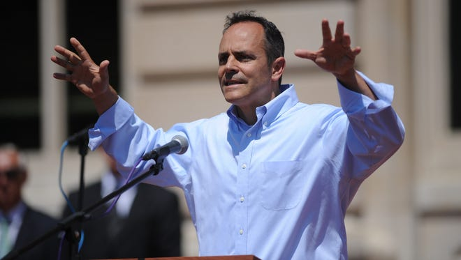 Republican gubernatorial candidate, Matt Bevin, speaks at a Religious Freedom Rally in Frankfort, Ky., on Saturday, August 22, 2015. Photo by Mike Weaver