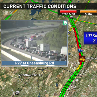 Accident slows traffic on I-77 SB before Lauby Rd near