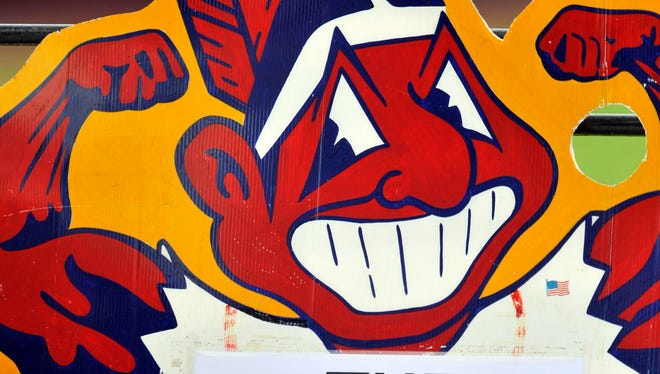 General view of a sign featuring Chief Wahoo during a game between the Cleveland Indians and the Minnesota Twins.