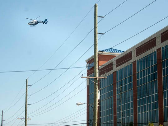 A medivac helicopter leaves Kennedy University Hospital in Stratford after a husband shot and killed his wife, then shot himself, inside a hospital room Wednesday morning, August 27, 2014.