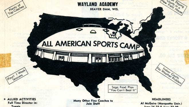 A pamphlet promotes the All American Sports Camp at Wayland Academy in Beaver Dam. The Manitowoc boys basketball team credits that camp as one of the reasons they bonded so well in the summer of 1967 and went on to win the state championship the next year.