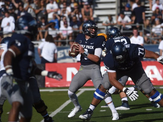 Nevada's Ty Gangi prepares to throw while taking on Toledo during their football game at Mackay Stadium in Reno on Sept. 9, 2017.