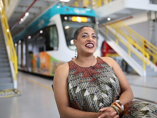 Sommer Woods, VP of External Relations for M1Rail, is the winner of the Dave Bing Future Leader Award and is photographed at the M1-Rail headquarters in Detroit on Tuesday, Aug. 22, 2017. Woods is also apart of the midnight golf program with a heavy emphasis on both mentoring mentors in the program and helping kids achieve their college goals.