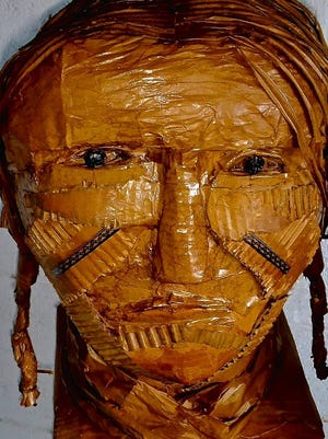 """""""Geronimo"""" by Don Sharpe, made from cardboard, is part of the Cooperative Gallery 213 exhibit """"TRASH! A Collaborative EcoArt."""""""