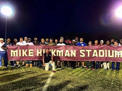 Longtime Florida High coach and athletic director Mike Hickman has retired, but for his 20 years of service at the school the football field was renamed in his honor.