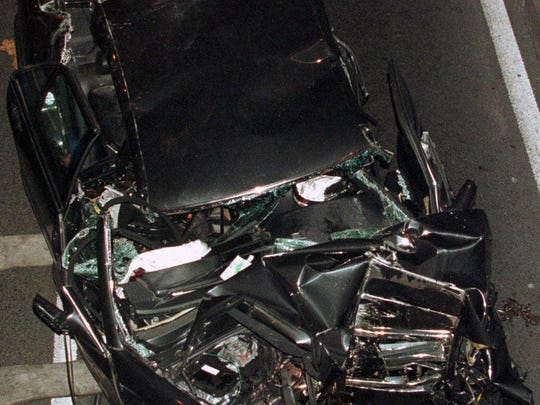 The wrecked car carrying Princess Diana after colliding