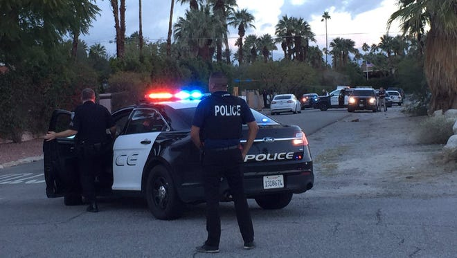 Palm Springs police are searching for a possible armed robber Thursday afternoon near downtown Palm Springs.