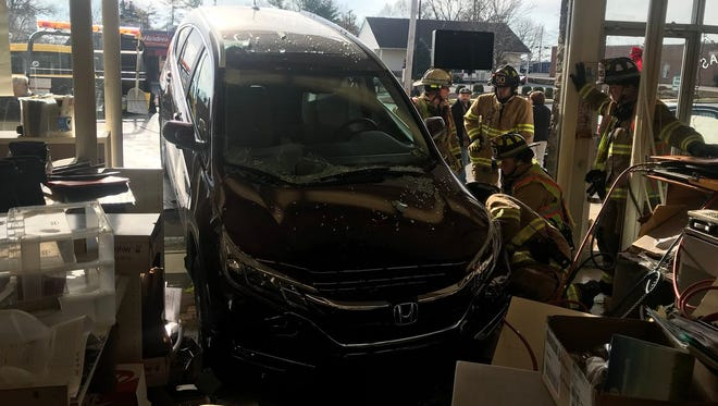 A SUV crashed into Super Shoes in West Manchester Township Friday morning, according to West Manchester Township Fire Department.