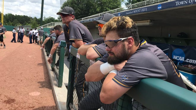 Augustana players before their win in the College World Series on Saturday