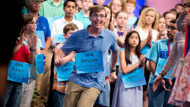 Dylan O'Connor, 14, of Watertown, N.Y., reacts after being announced as one the finalist for the Scripps National Spelling Bee.
