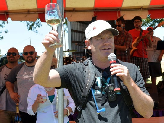 New Mexico Wine Growers Association Executive Director Chris Goblet welcomes all comers to the Las Cruces Wine Festival.