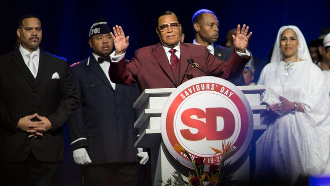 Minister Louis Farrakhan takes the stage at the Nation of Islam Saviour's Day Convention on Sunday, Feb. 21, 2016 at Joe Louis Arena in Detroit.