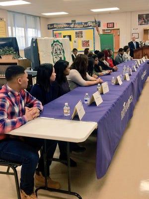 Camden's Brimm Medical Arts High School graduates speak at Camden City School District announcement of increasing graduation rates.