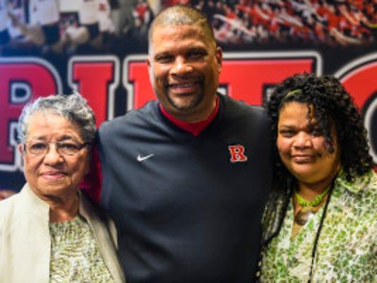 Eddie Jordan with his mom Marguerite adn his sister Natalie (courtesy Rutgers Athletics)