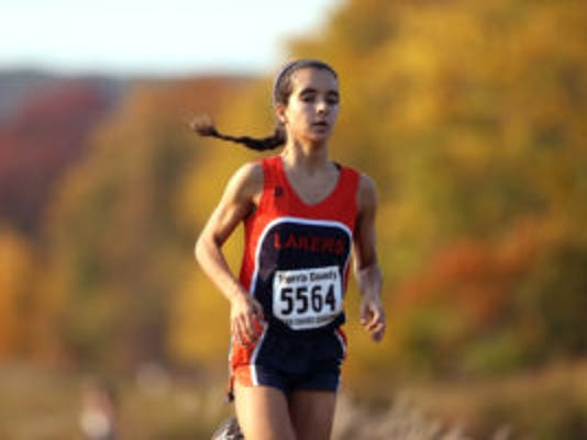 Izzi Gengaro of Mountain Lakes competes in the Northwest Jersey Athletic Conference Championships small-school race. (Bob Karp/Staff photographer)