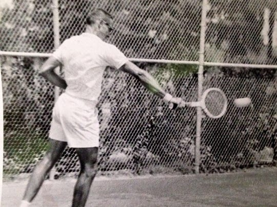 """Tom Robinson is shown hitting a backhand in competition in the late 1950s. Robinson was known for his """"outstanding backhand,"""" said Lester Sack, who will present Robinson into the Louisiana Tennis Hall of Fame on March 7."""