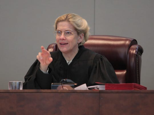 96041 --  Trenton, New Jersey  --  April 24,   2012  --- The state Supreme Court listen to arguments on the constitutionality that allows the transfer of some juvenile offenders to adult court.  Associate justice justice Anne Patterson listening to testimony.
