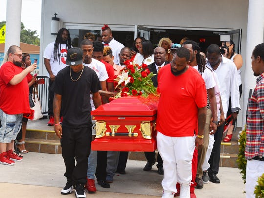 More than 200 people attended the funeral for Jamel Dunn on July 29 at the Zion Orthodox Primitive Baptist Church in Cocoa. Many wore traditional dark clothing, while many wore red at the request of the family. Dunn's death gained international attention when it became known that five teens allegedly filmed his drowning July 9 while mocking him, but did nothing to help him.