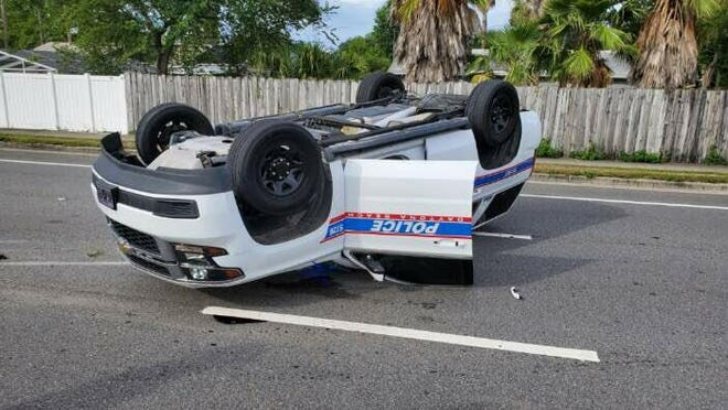 Daytona Beach police officer, Tim Jackson, and his K-9 partner escaped serious injury when the patrol vehicle flipped while pursuing a shooting suspect on Saturday, said police Chief Craig Capri.