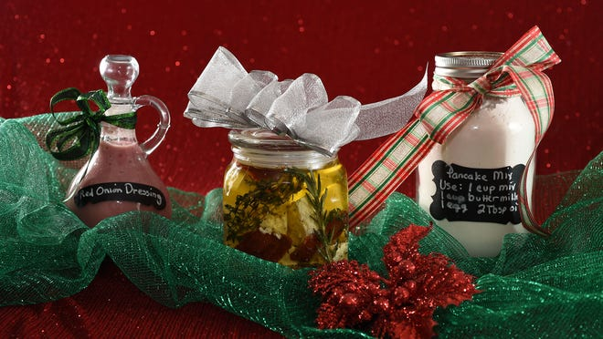 Savory gifts from the kitchen include (from left) Red Onion Dressing, Marinated Feta Cheese and Christmas Morning Pancake Mix.
