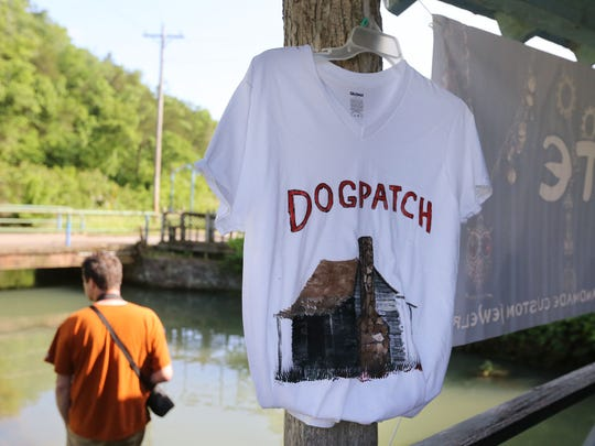A hand-painted Dogpatch T-shirt was for sale at The Village of Dogpatch River Walk event in Marble Falls, Arkansas, in 2015.