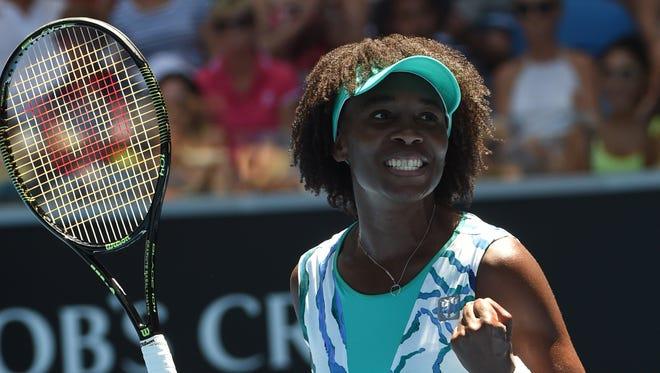 Venus Williams celebrates her win against Camila Giorgi.