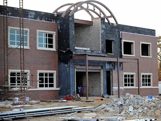 A section of CCTEC's new building that will become the caffeteria is seen under construction Tuesday.