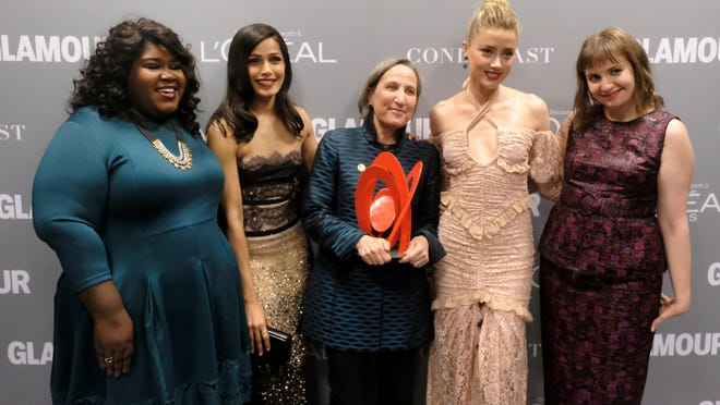 Actresses Gabourey Sidibe, left, and Freida Pinto, honoree Michele Dauber and actresses Amber Heard and Lena Dunham attend the Glamour magazine Women Of The Year 2016 event Monday in Los Angeles.