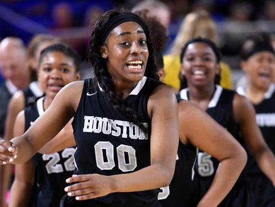 Jayla Hemingway hit key free throws down the stretch to help Houston defeat Bradley Central 52-49 and advance to Saturday's BlueCross AAA title game against Riverdale.