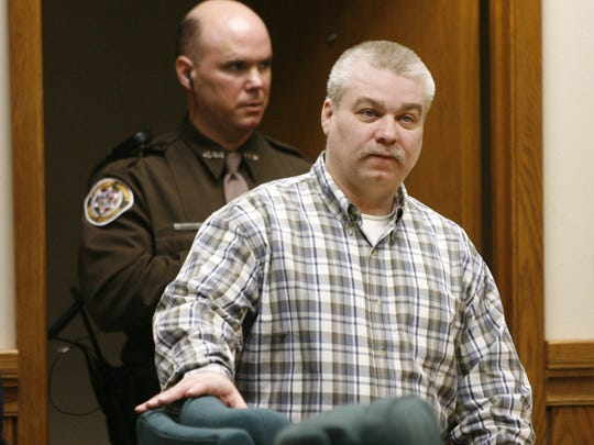Steven Avery is escorted into the courtroom on March