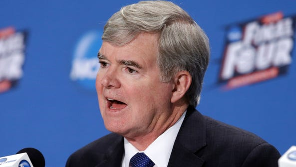 NCAA President Mark Emmert answers questions during
