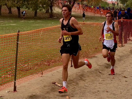Ventura's Nick Randazzo heads toward the finish during the CIF Division II state cross country championship.