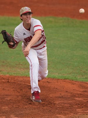Vero Beach winning pitcher Hunter Cooley throws in the first inning against Palm Harbor during the high school baseball Region 2-9A semifinal game Monday, May 21, 2018, at Vero Beach High School.