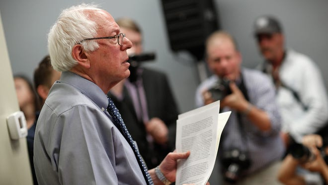 Sen. Bernie Sanders attends a campaign event at the New England College on May 27, 2015 in Concord, N.H.
