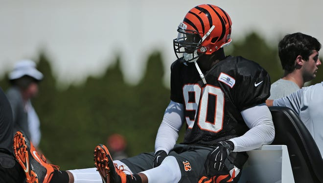 Defensive end Michael Johnson is progressing from a knee injury he suffered on Aug. 2.