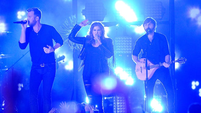 Lady Antebellum performs at the 50th Academy of Country Music Awards from AT&T Stadium in Arlington, Texas, on April 19, 2015.