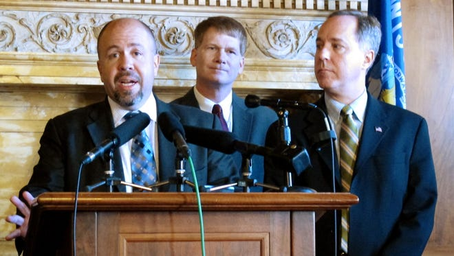 Assembly Majority Leader Jim Steineke, left, joins Rep. Jeremy Thiesfeldt, center, and Speaker Robin Vos at a recent press conference.