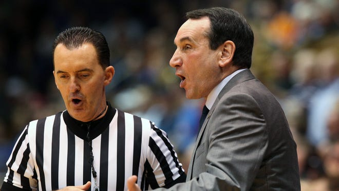 Duke Blue Devils head coach Mike Krzyzewski argues with an official in their game against the Indiana Hoosiers at Cameron Indoor Stadium.