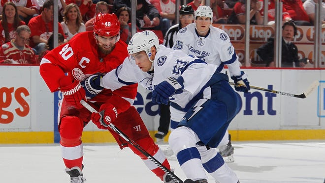 Valtteri Filppula, right, said the Lightning didn't play as well as they would've liked in Sunday's Game 3 shutout loss to the Red Wings.