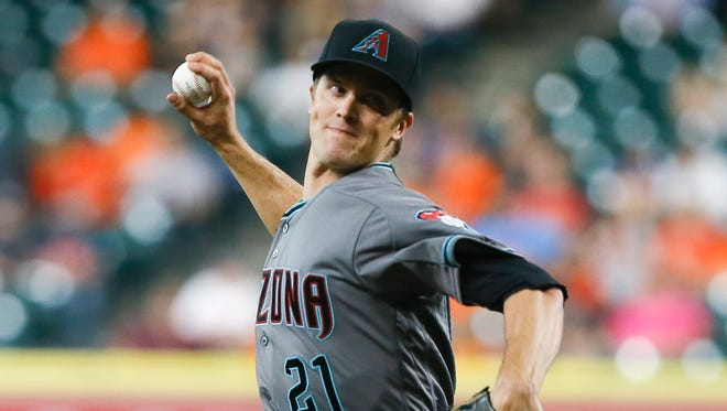 Zack Greinke #21 of the Arizona Diamondbacks pitches in the first inning against the Houston Astros at Minute Maid Park on June 2, 2016 in Houston, Texas.