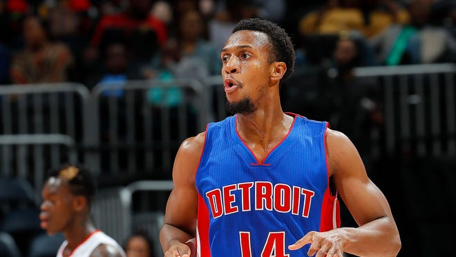 Pistons guard Ish Smith reacts after hitting a three-pointer against the Atlanta Hawks at Philips Arena on October 13, 2016 in Atlanta.