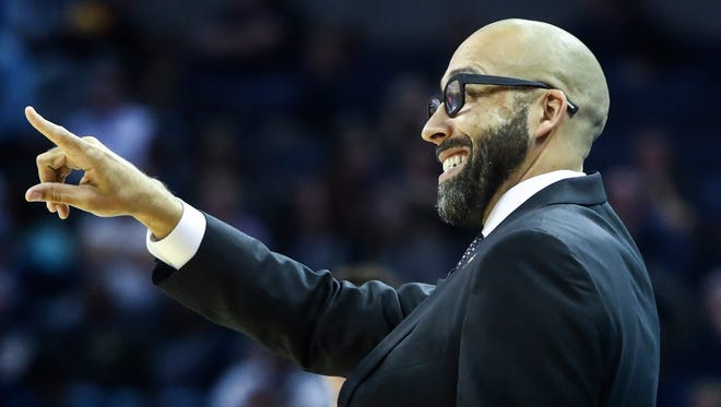 Memphis Grizzlies head coach David Fizdale during action against the Orlando Magic at the FedExForum in Memphis, Tenn., Wednesday, November 1, 2017.
