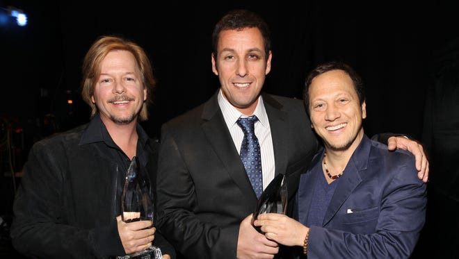 Actors David Spade, Adam Sandler and Rob Schneider attend the 2011 People's Choice Awards at Nokia Theatre L.A. Live on January 5, 2011 in Los Angeles, California.
