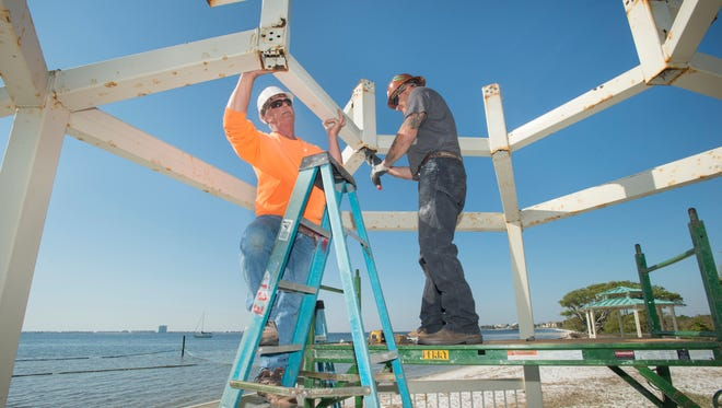 William Brinson, left, and Mark Ceglarek, of Etheridge Construction, dismantle the rusting gazebos in preparation for new ones at Shoreline Park South in Gulf Breeze on Friday, March 23, 2018.