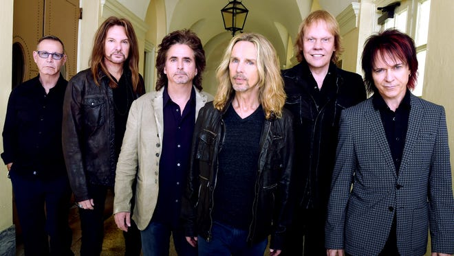 "Members of the rock group Styx include, from left, Chuck Panozzo, Ricky Phillips, Todd Sucherman, Tommy Shaw, James ""J.Y."" Young and Lawrence Gowan."