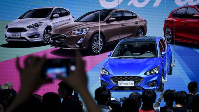 The Ford Focus at the Beijing auto show in Beijing on April 25, 2018.
